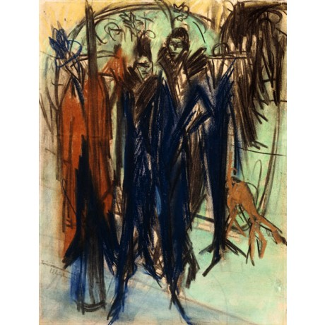 "STRIKING CANVAS PRINT ""Prostitute, Berlin"" BLUE coat city ERNST LUDWIG KIRCHNER"