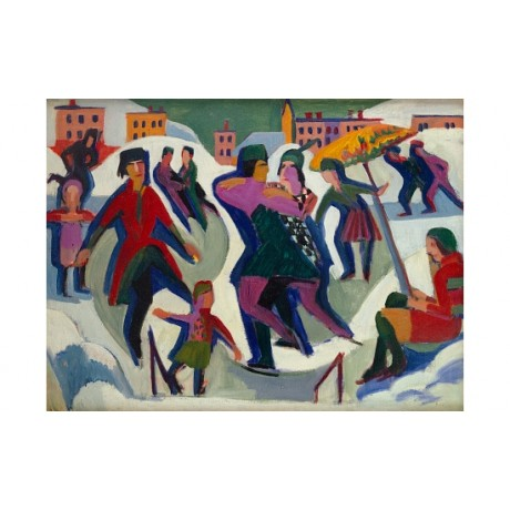 "KIRCHNER ""Ice Skating Rink With Skaters"" HOLDING couple child snow winter PRINT"