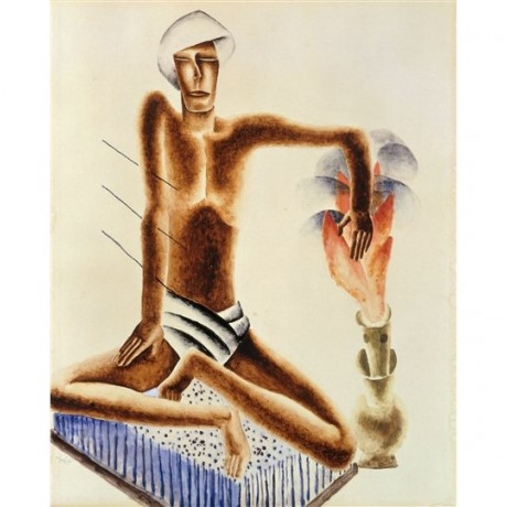"Frits van den Berghe ""Fakir"" holy man crosslegged bed nails flame pain CANVAS"