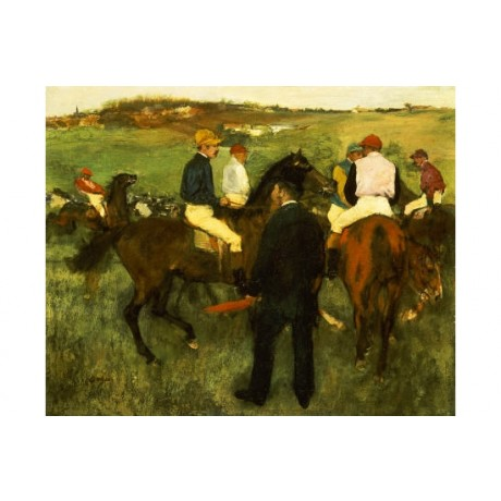 """EDGAR DEGAS """"Racehorses Leaving Weighing"""" ON CANVAS various SIZES available, NEW"""