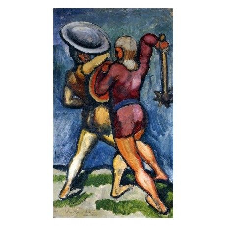 "AUGUST MACKE ""Two Warriors"" ATTACKING with spiked weapon conflict CANVAS PRINT"