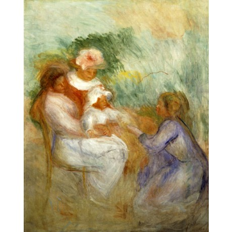 "PIERRE-AUGUSTE RENOIR ""The Family"" AFFECTION mother love baby family NEW CANVAS"