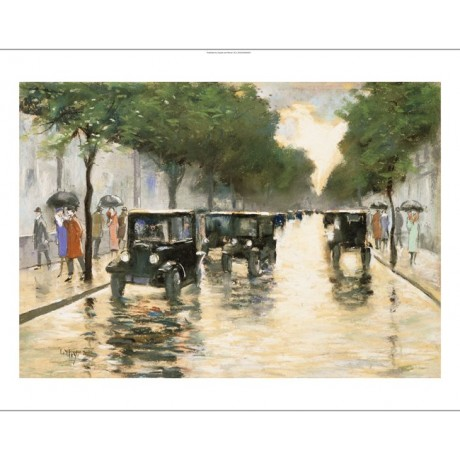 "LESSER URY ""Berlin Street In The Rain"" new CANVAS print various SIZES, BRAND NEW"