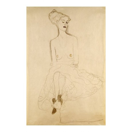 "GUSTAV KLIMT ""Seated Woman"" Nude Art Print Sketch choose your SIZE, from 55cm up"