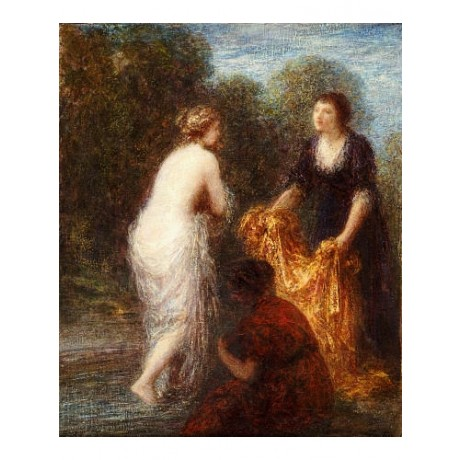 "HENRI FANTIN-LATOUR ""Bath Robe"" nude CANVAS ART ! choose SIZE, from 55cm up, NEW"