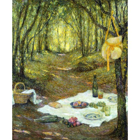 HENRI LE SIDANER Le Gouter sous Bois PICNIC forest yellow bag NEW CANVAS PRINT