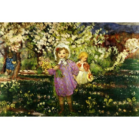 HENRY LEBASQUE Children in an Orchard in Bloom SMILING sunny girl CANVAS PRINT