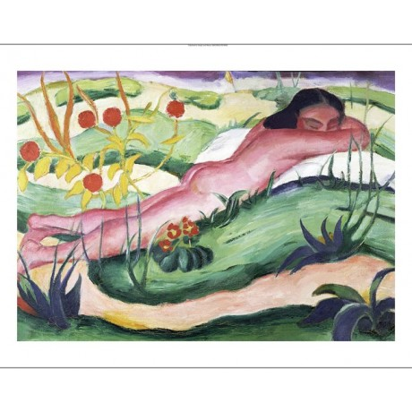 "FRANZ MARC ""Nude Lying In Flowers"" Nude CANVAS ART ! various SIZES available"