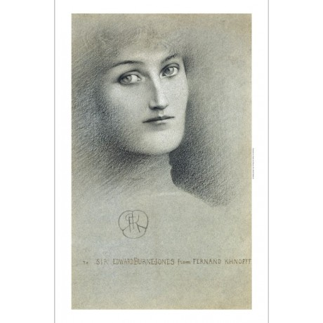 "Fernand Khnopff ""Female Head"" burne-jones staring haunting woman CANVAS PRINT"