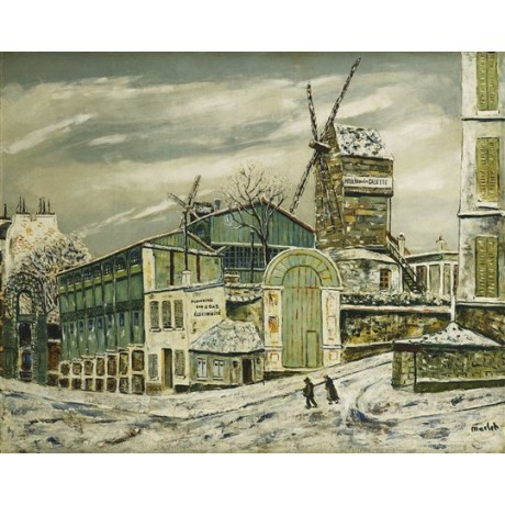 "Elisee Maclet ""Le Moulin de la Galette"" windmill cold winter scene industrial"