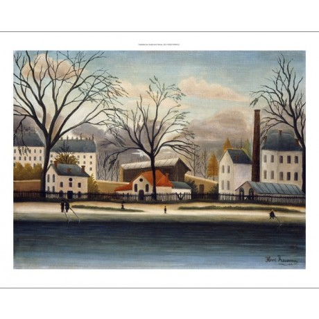 HENRI ROUSSEAU Suburbs COMMUNITY children fishing riverbank NEW CANVAS PRINT!!