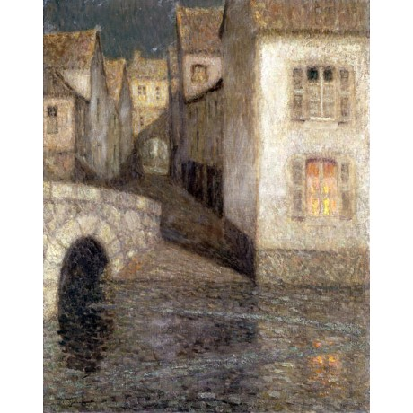 HENRI LE SIDANER The House by the River, Chartres ARCHED bridge shadow CANVAS!