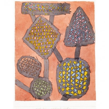 "PAUL KLEE ""Growing Weapons"" COLOURFUL connected oval pink yellow CANVAS PRINT"