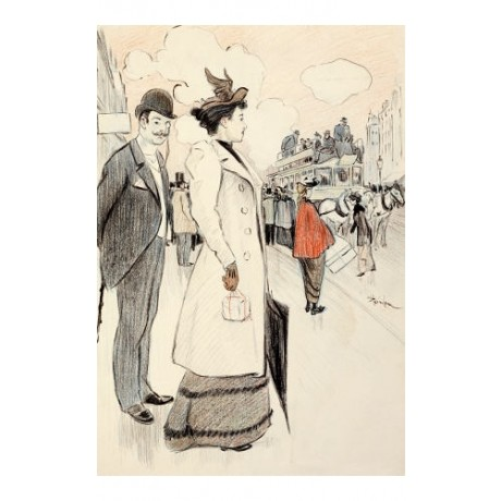 THEOPHILE ALEXANDRE STEINLEN Waiting For Bus PRINT choose your SIZE, 55cm up
