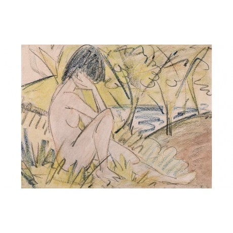"OTTO MUELLER ""Sitting By Lake"" nude print ON CANVAS various SIZES available, NEW"