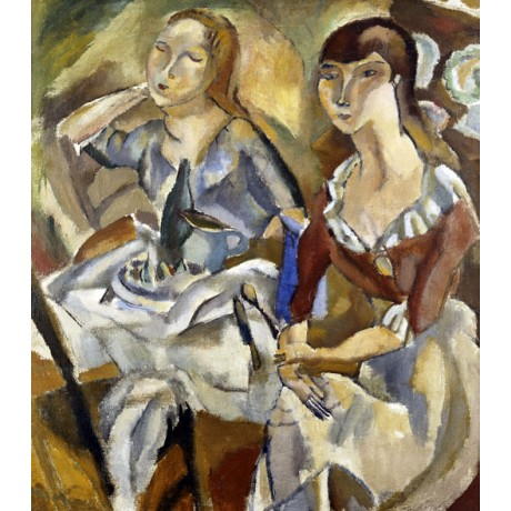 "JULES PASCIN ""Young Women at a Table"" friendship MODERN bottle NEW CANVAS PRINT"