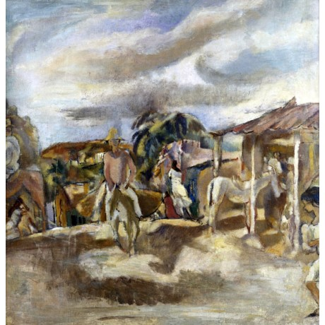 JULES PASCIN Cuban Village STREET life girl horse riding mule NEW CANVAS PRINT