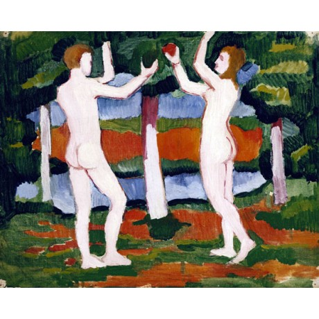 AUGUST MACKE Adam and Eve FORBIDDEN fruit bible garden eden NEW CANVAS PRINT!!