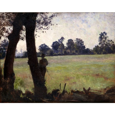 HENRI LEBASQUE The Fisherman SILHOUETTE man countryside rod NEW CANVAS PRINT!!