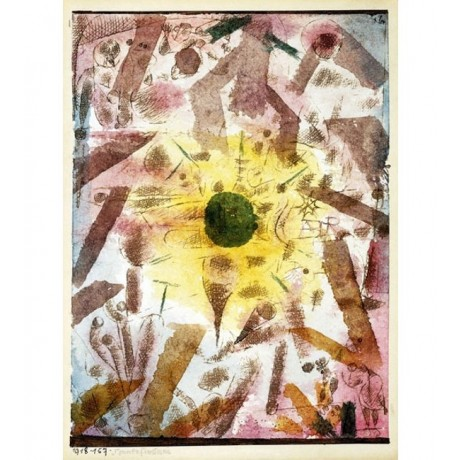 "PAUL KLEE ""Eclipse"" ABSTRACT solar system sun shining ray yellow CANVAS PRINT"