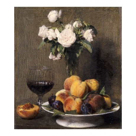 HENRI FANTIN-LATOUR Rose Still PRINT ON CANVAS choose SIZE, from 55cm up, NEW