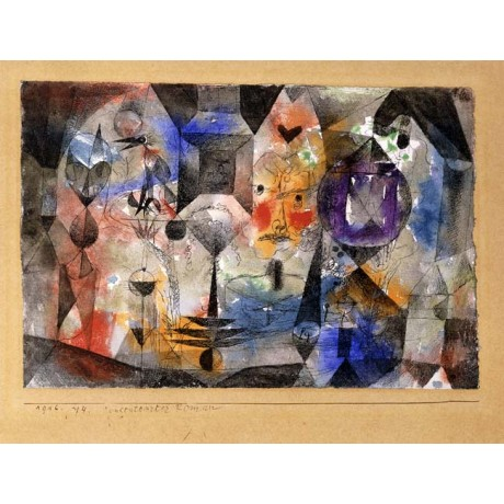 "PAUL KLEE ""Concentrierter Roman"" HUMAN geometric heart angry bird CANVAS PRINT"