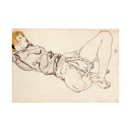 "EGON SCHIELE ""Reclining Woman With Blond Hair"" print various SIZES available"