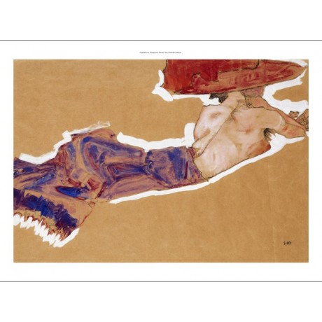EXCEPTIONALLY ALLURING CANVAS of Reclining Semi-Nude with Red Hat EGON SCHIELE