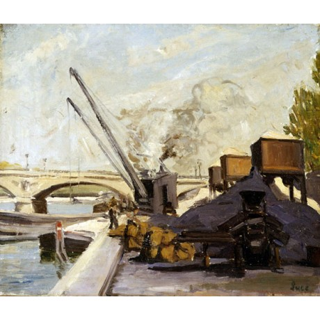 MAXIMILIEN LUCE Cranes on the Seine ARCH bridge dockyard urban city NEW CANVAS