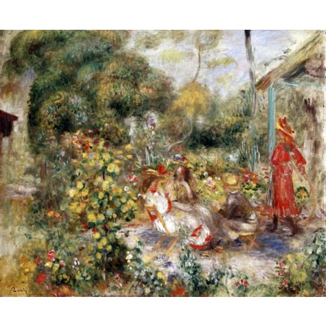 PIERRE-AUGUSTE RENOIR Girls in a Garden in Montmartre BOY friends CANVAS PRINT