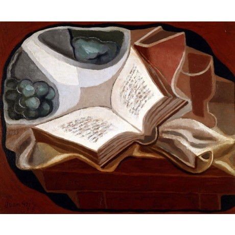 JUAN GRIS Book and Fruit Bowl WITCHCRAFT spell magic recipe brown CANVAS PRINT