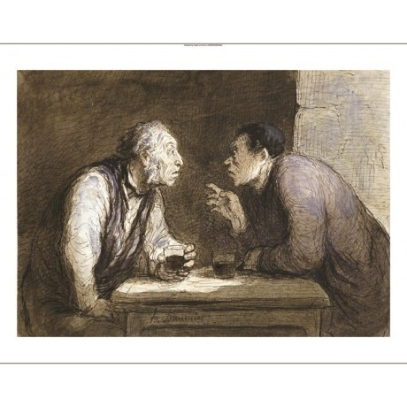 "HONORE DAUMIER ""Two Drinkers"" portrait ON CANVAS choose SIZE, from 55cm up, NEW"