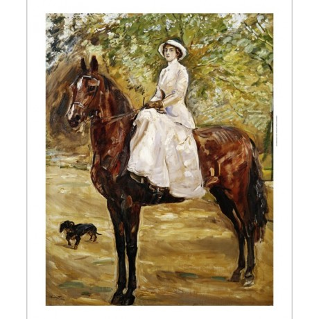 "MAX SLEVOGT ""Woman in White Riding a horse"" CONFIDENCE sidesaddle CANVAS PRINT"