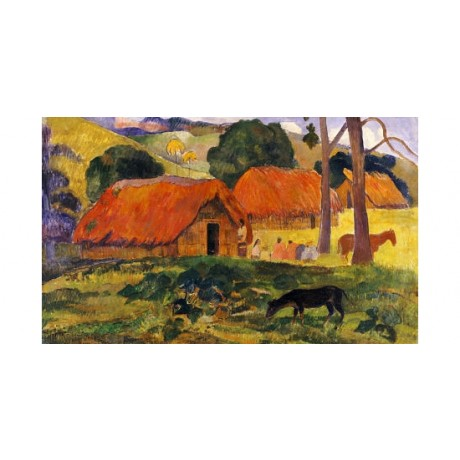 "PAUL GAUGUIN ""Three Huts, Tahiti"" print ON CANVAS choose SIZE, from 55cm up, NEW"