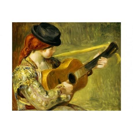 "PIERRE-AUGUSTE RENOIR ""Girl With A Guitar"" ON CANVAS various SIZES available"