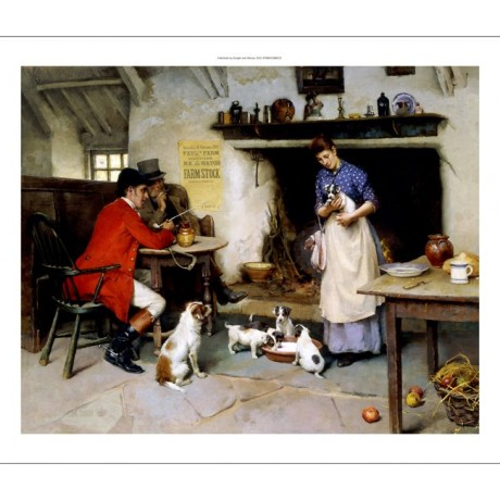 "Leghe Suthers ""The Beauty of the Family"" inn fireplace puppies drinking milk"