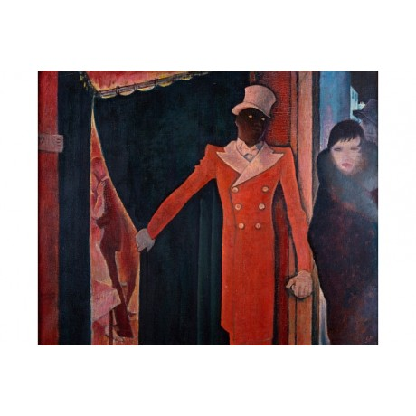 "GLYN PHILPOT ""Entrance To Tagada"" NIGHTLIFE theatre doorman uniform fur CANVAS"
