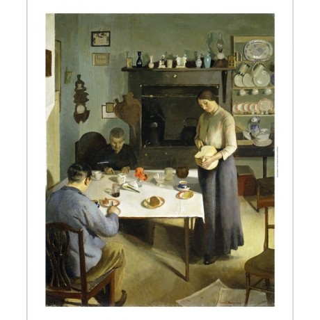 HAROLD HARVEY The Tea-Table FAMILY kitchen home food domestic NEW CANVAS PRINT