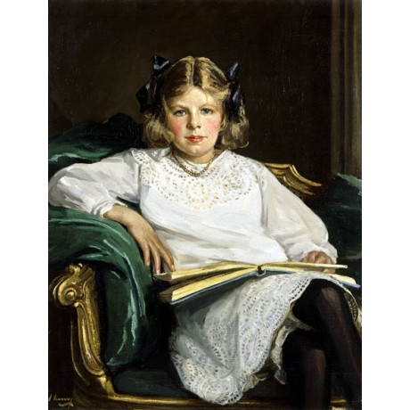 SIR JOHN LAVERY Portrait of Betty GIRL book daughter ribbons lace CANVAS PRINT