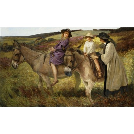 "George Edmund Butler ""Two Children Riding Donkeys on the Edge of a Moor"" CANVAS"