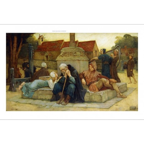 """Frederick William Davis """"The Curfew Tolls Knell of Parting Day"""" jester scythe"""