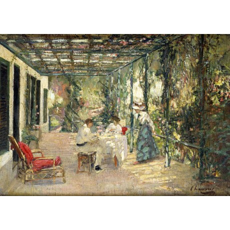 SIR JOHN LAVERY Breakfast on the Terrace SUNLIGHT pergola day NEW CANVAS PRINT