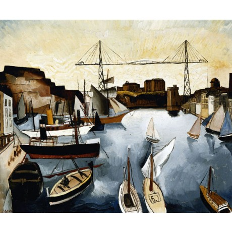 CHRISTOPHER WOOD Marseilles Harbour INLET arrival boat moor crane CANVAS PRINT
