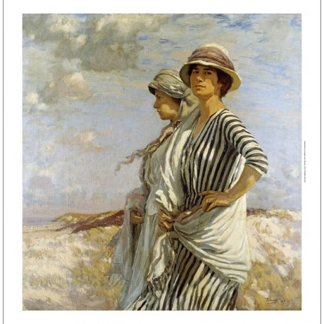 "Algernon Talmage ""Mrs Talmage and a Friend"" walking on windy day striped dress"