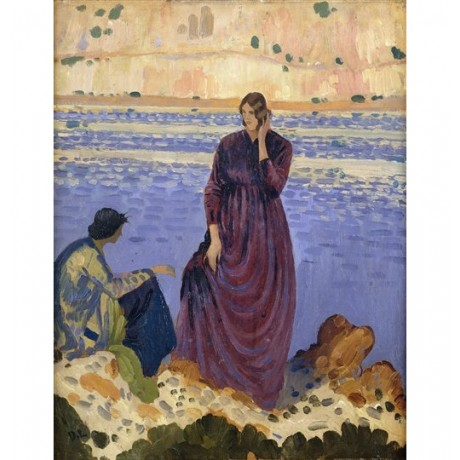 "Derwent Lees ""Two Women on Rocks by the Sea"" coastal purple dress CANVAS PRINT"