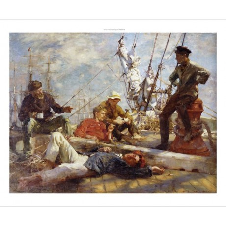 "HENRY SCOTT TUKE ""Midday Rest"" Ship PRINT ON CANVAS various SIZES available, NEW"