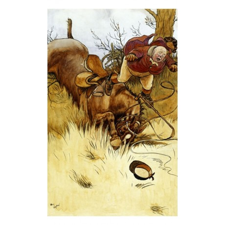 "NEW CANVAS PRINT ""A Fall's a Hawful Thing"" BALD man thrown by horse CECIL ALDIN"