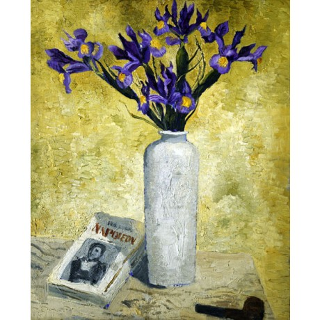 CHRISTOPHER WOOD Irises in a Tall Vase NAPOLEON book purple flower NEW PRINT!!
