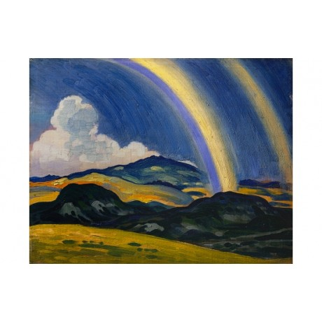 "DERWENT LEES ""Rainbow Wales"" BLUE yellow arc cloud hills sky gold CANVAS PRINT"