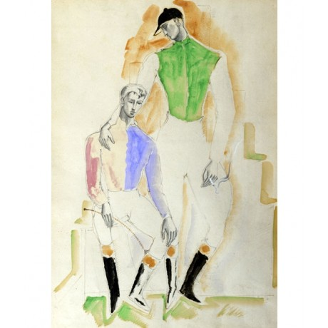 CHRISTOPHER WOOD Two Jockeys SMOKING cigarette consolation friend CANVAS PRINT